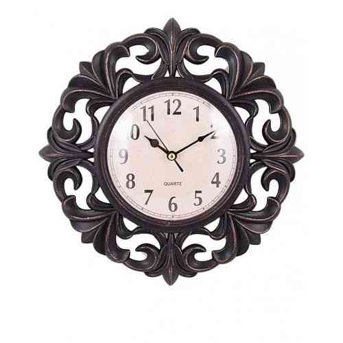 Flower Pattern Wall Clock 15x15 Inch - Black