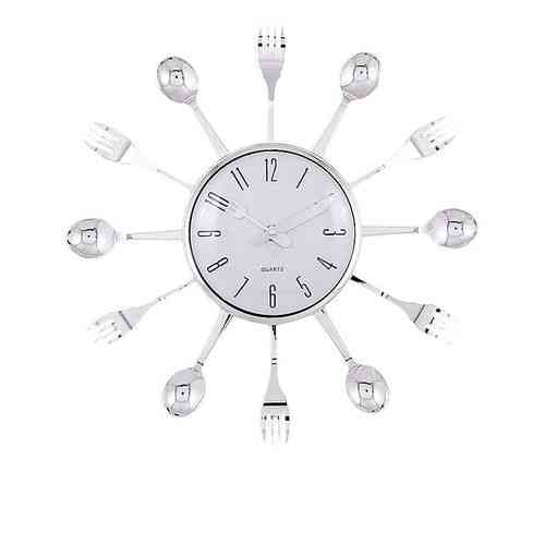 """Spoons and Forks Kitchen Wall Clock - 14x14"""" - Silver"""