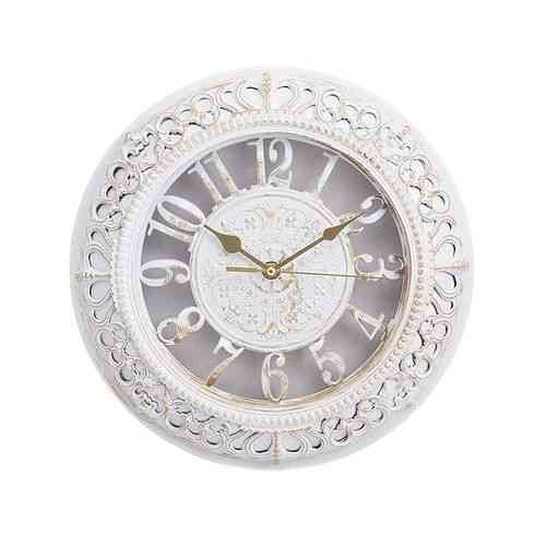 "Gold Shaded Antique Wall Clock - 12x12"" - White"