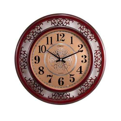 "Big Size Pvc Silent Non Ticking Quartz Golden Dial Wall Clock For Home Office School - 16X16"" - Red"