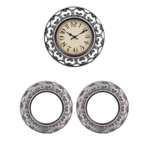 "Pack of 3 - Wall Clock With 2 Mirrors - 8x8"" - Silver"