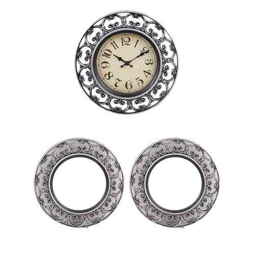"Pack Of 3 - Silent Non Ticking Quartz Wall Clock With 2 Mirrors Antique Style - 11X11"" - Silver"