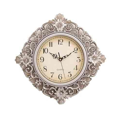Floral Pattern Wall Clock With Silver Finish - 12x12""