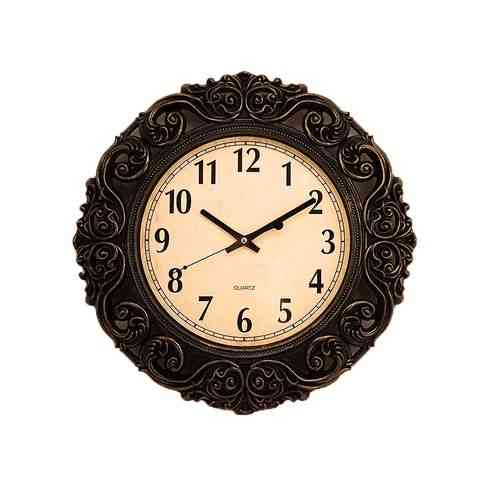 """Antique Gold Shaded Black Wall Clock - 17x17"""""""