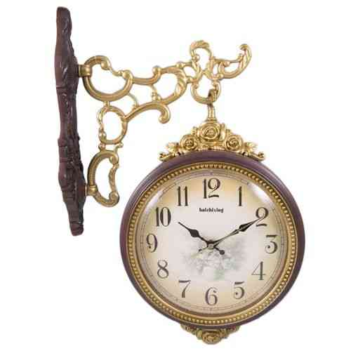 Europeon Design Antique Double Face Wall Clock High Quality - Brown Golden