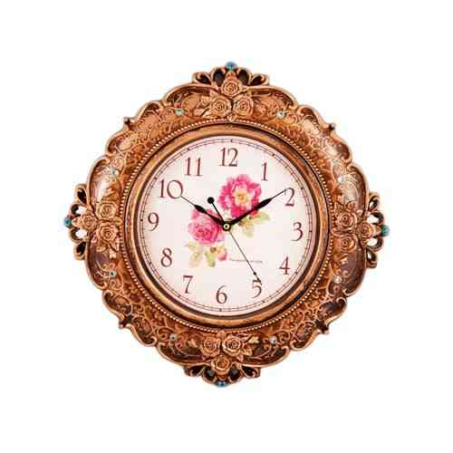 """Bronze Wall Clock With Blue Pearls - 15x15"""""""