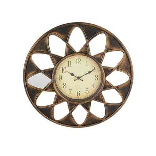 """Large Pvc Wall Clock With Surrounding Mirrors Quartz Silent Non Ticking For Home Office - Bronze - 15X15"""""""