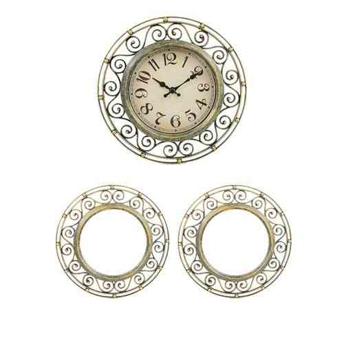 """Pack of 3 - Wall Clock With 2 Mirrors - 8x8"""" - Fungus Color"""