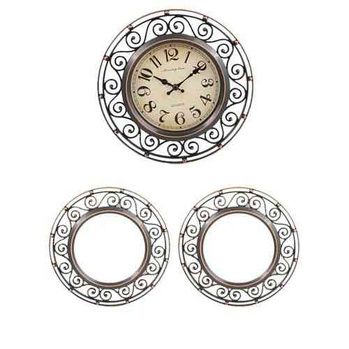 "Pack of 3 - Wall Clock With 2 Mirrors - 8x8"" - Bronze"