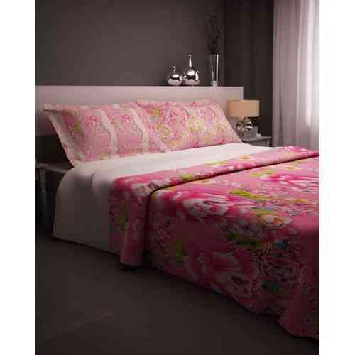 Flowers Print Bedsheet With 2 Pillow Covers - Pink
