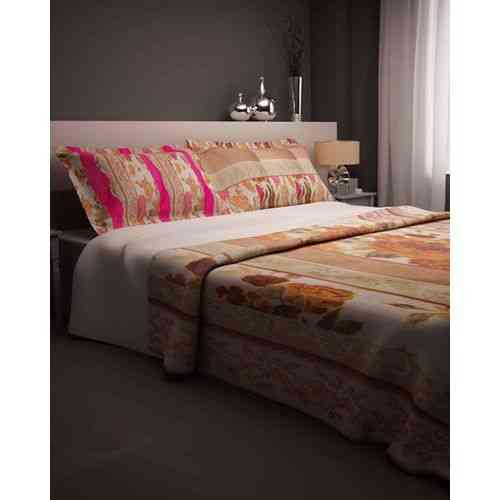 Beautiful Flowers Print Bedsheet With 2 Pillow Covers - Dark Pink