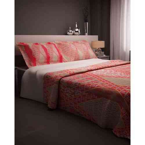 Beautiful Calligraphic Print Bedsheet With 2 Pillow Covers - Red