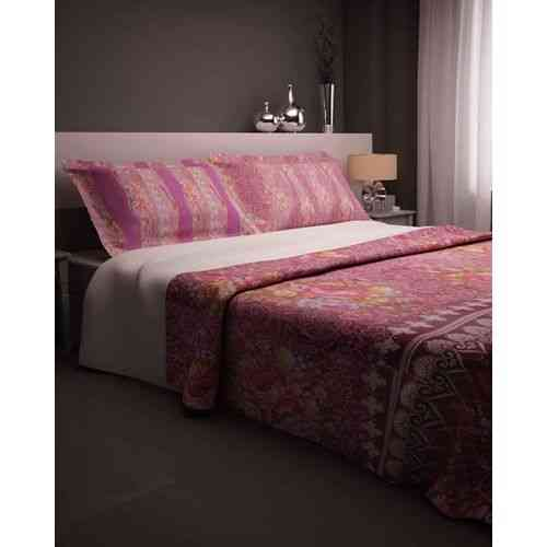Flowers and Leaves Print Bedsheet With 2 Pillow Covers - Purple