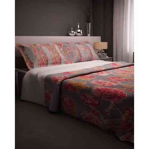 Beautiful Flowers Print Bedsheet With 2 Pillow Covers - Gray