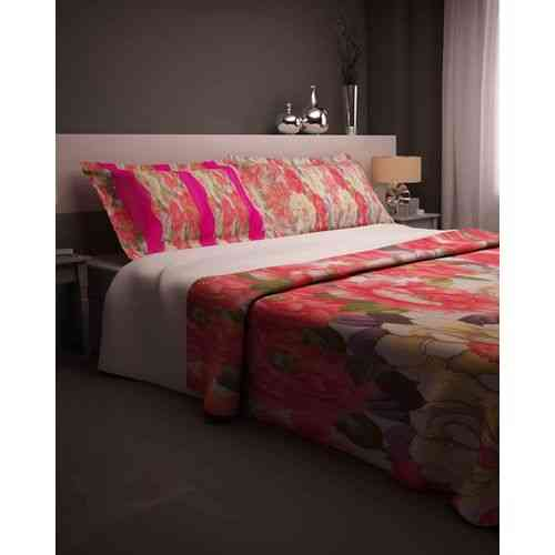 Eye Catchy Print Bedsheet With 2 Pillow Covers - Dark Pink