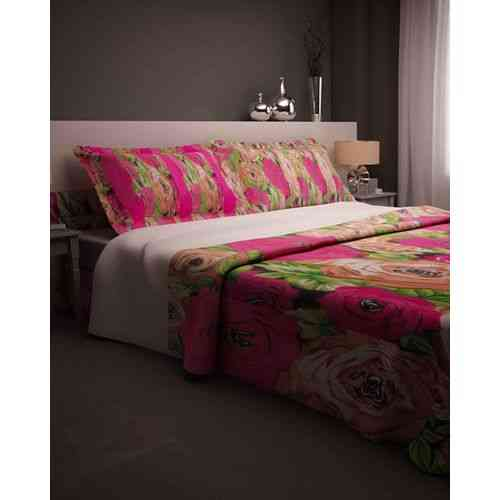 Eye Catchy Flowers Print Bedsheet With 2 Pillow Covers - Dark Pink