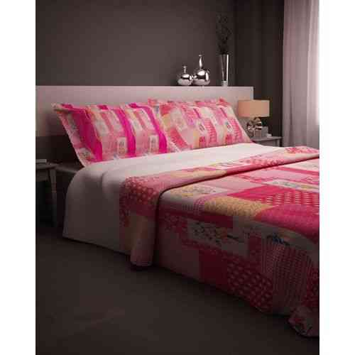 Eye Catchy Flowers Print Bedsheet With 2 Pillow Covers - Pink