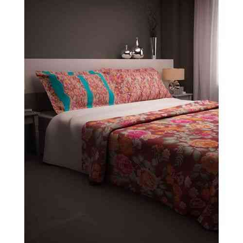 Eye Catchy Flowers Print Bedsheet With 1 Pillow Cover - Single Bed - Dark Green
