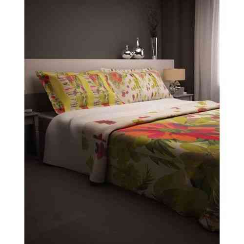 Eye Catchy Lines Print Bedsheet With 1 Pillow Cover - Single Bed - Light Green
