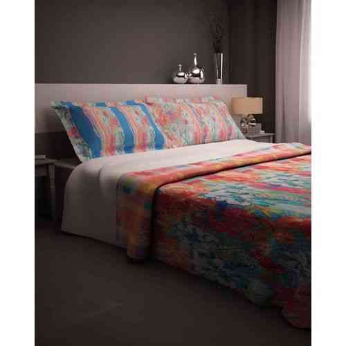 Lines and Flowers Print Bedsheeet With 1 Pillow Cover - Single Bed - Blue
