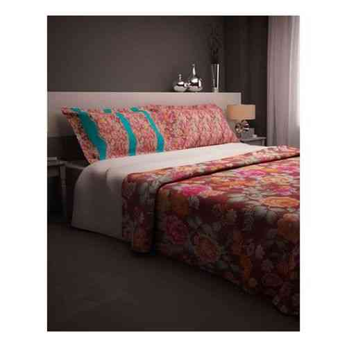 Pack of 2 - Eye Catchy Flowers Print Bedsheet With 1 Pillow Cover - Dark Green