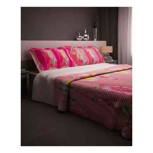 Pack of 2 - Eye Catchy Flowers Print Bedsheet With 1 Pillow Cover  - Dark Pink