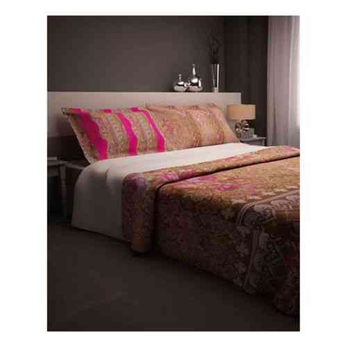 Pack of 2 - Brown Print Bedsheet With 1 Pillow Cover  - Dark Pink