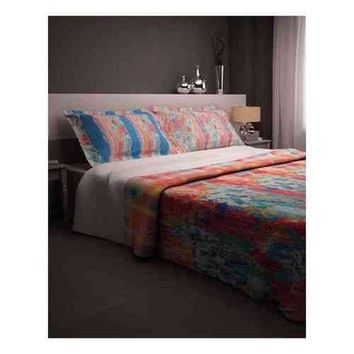 Pack of 2 - Lines and Flowers Print Bedsheeet With 1 Pillow Cover  - Blue