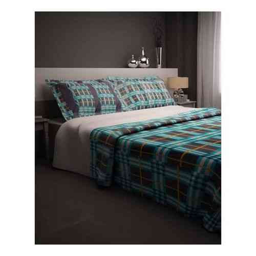 Pack of 2 - Check and Lines Print Bedsheeet With 1 Pillow Cover  - Blue
