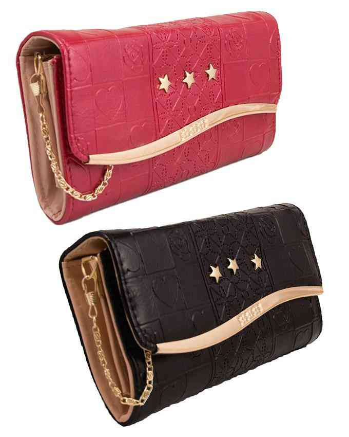 Pack of 2 Clutch With Golden Long Chain - Multicolour - C-144-147