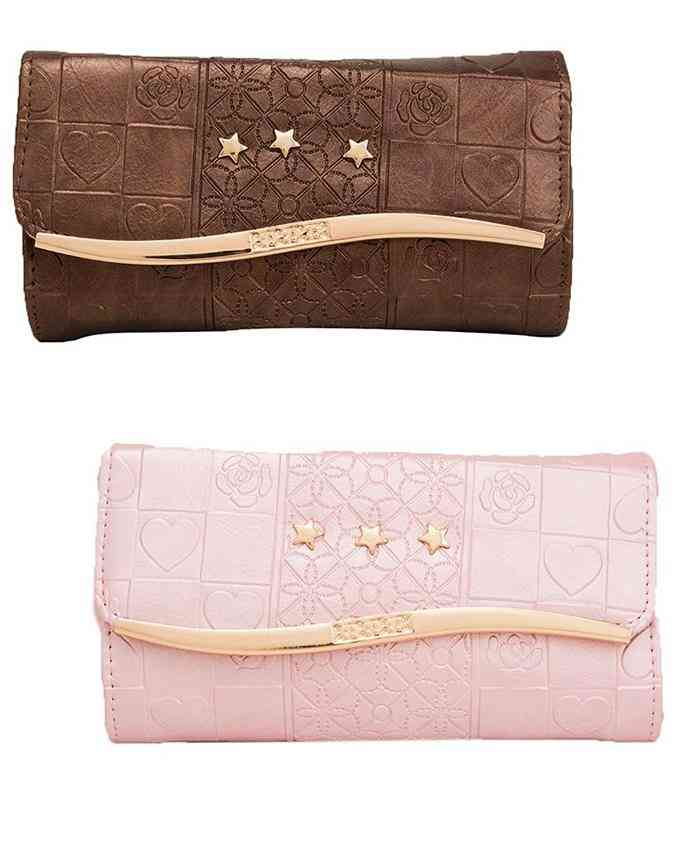 Pack of 2 Clutch With Golden Long Chain - Multicolour - C-148-149