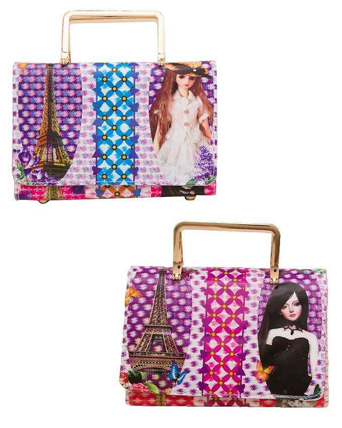 Pack of 2 Clutch For Women With Golden Long Chain - Multicolour - C-174-175