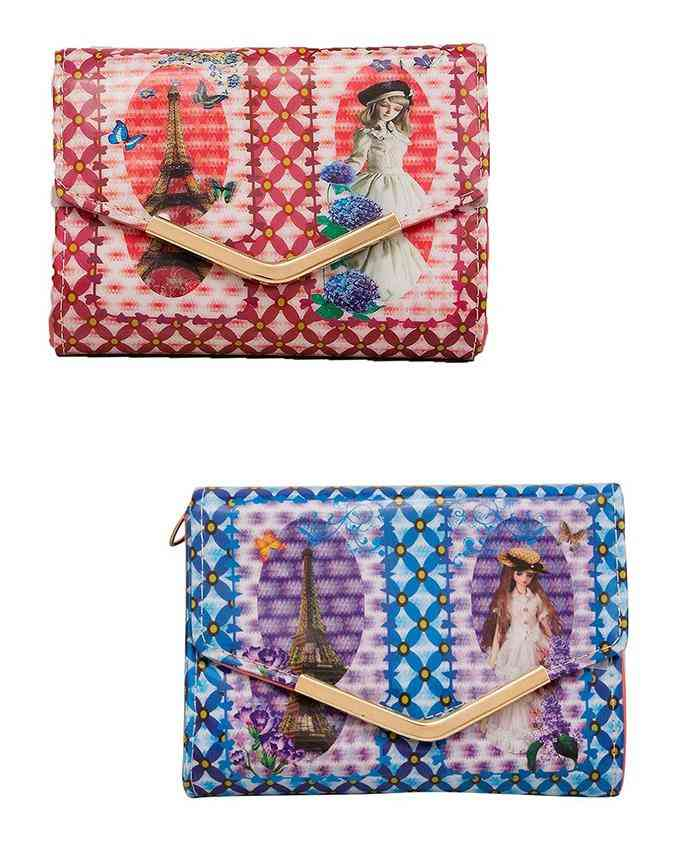 Pack of 2 Clutch For Women With Golden Long Chain - Multicolour - C-178-180