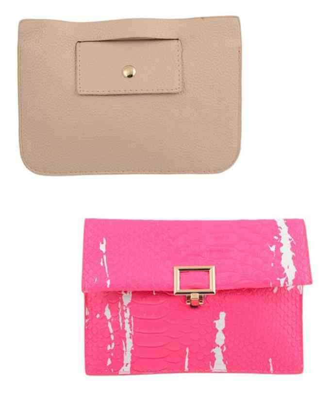 Pack of 2 Clutch and Short Purse for Women -(5 Inch Height and 8 Inch Width)- Multicolour - C-223-229