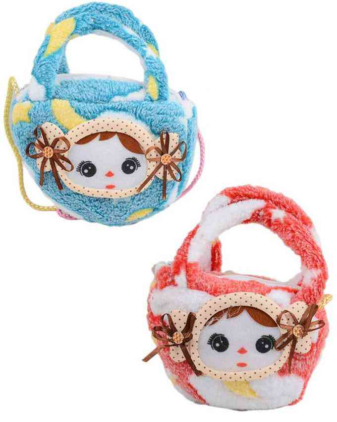 Pack of 2 Baby Stuffed Clutch for Her -(6 Inch Height and 4 Inch Width)- Multicolour - C-246-247