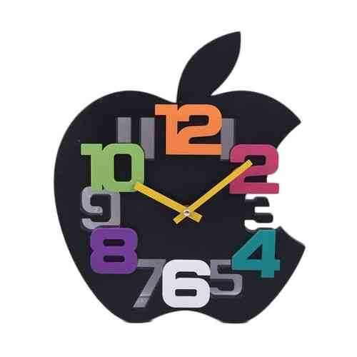 Mirrorless 6D Cute Apple Silent Non Ticking Kids Gift Wall Clock - Black