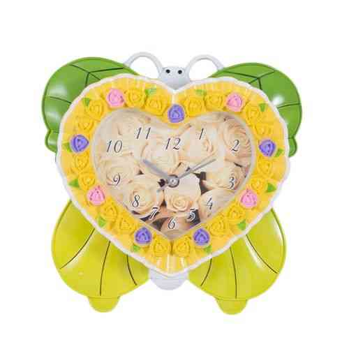 Cute Butterfly Heart Silent Non Ticking Kids Gift Wall Clock - Green