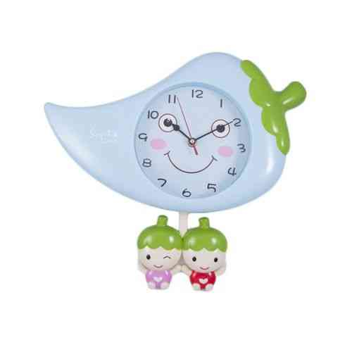 Mirchi Spice Moving Eyes Pendulum Wall Clock Silent Non Ticking - Blue