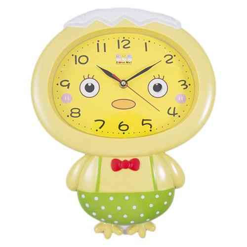 Baby Kids Boy Cute Moving Eyes Pendulum Silent Wall Clock - Green