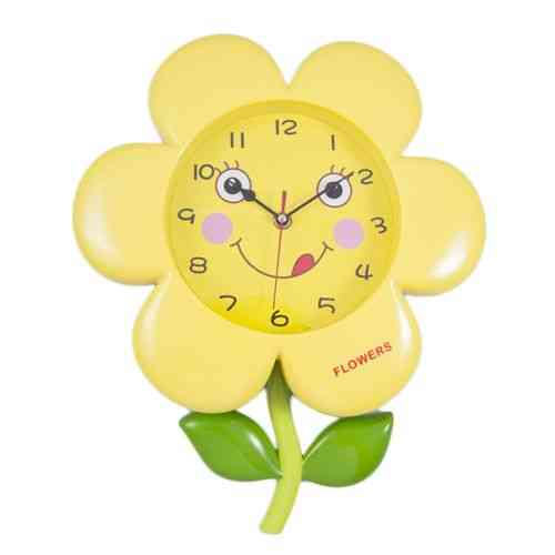 Sunflower Flower Cute Smiling Happy Moving Eyes Pendulum Wall Clock - Yellow