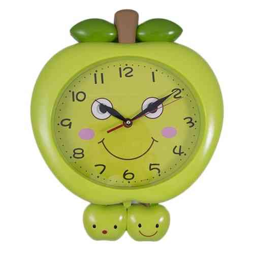 Apple Fruit Cute Smiling Happy Moving Eyes Pendulum Wall Clock - Green