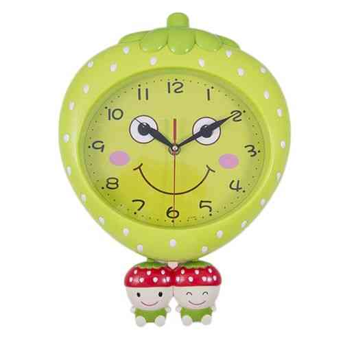 Apple Fruit Cute Smiling Happy Moving Eyes Pendulum Wall Clock - Dark Green