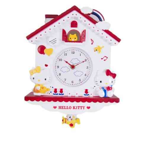 Cukoo Kity Cute House Home Pendulum Silent Wall Clock - Red