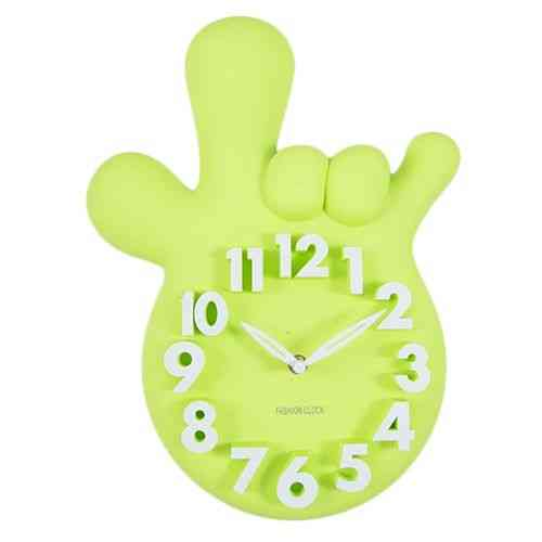 Mirrorless Without Mirror Thumbs Up Victory Hand Wall Clock - Green