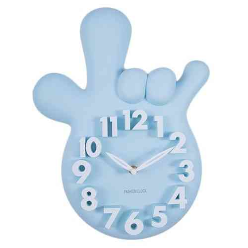 Mirrorless Without Mirror Thumbs Up Victory Hand Wall Clock - Blue