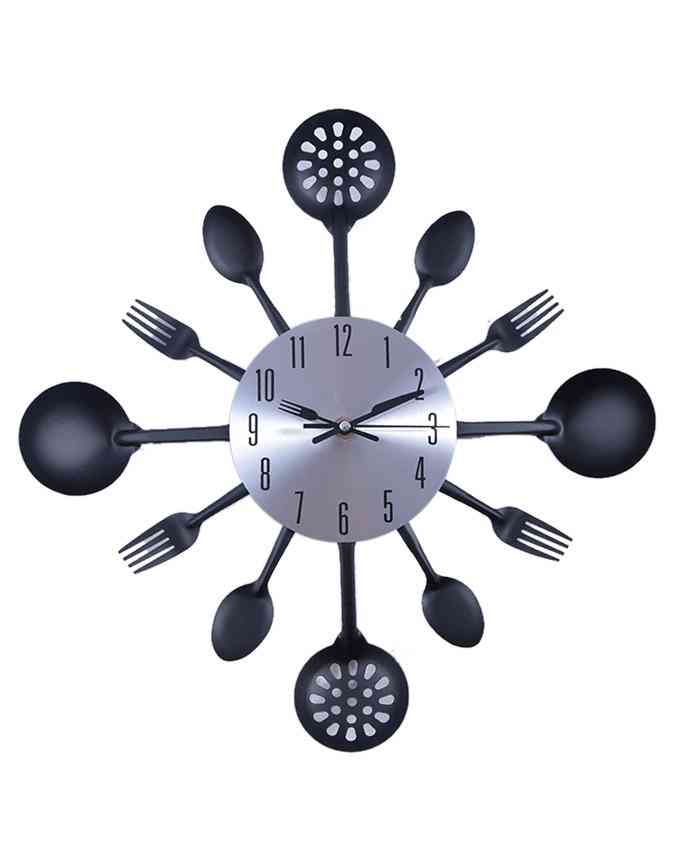 Mirrorless Silver and Black Kitchen Steel Wall Clock with Dummy Crockery