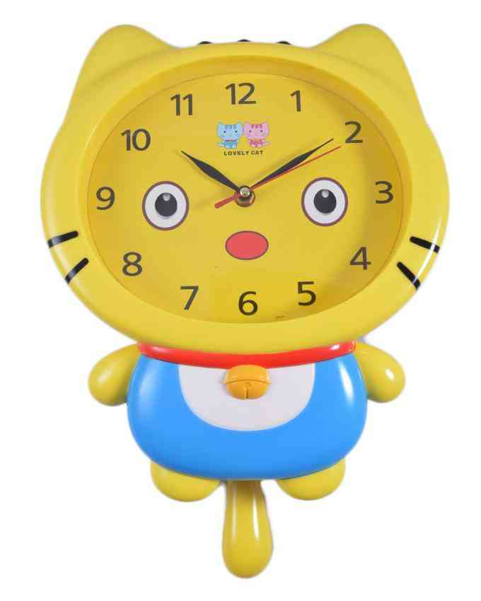 Lovely Cat Moving Eyes Wall Clock for Kids Room With Pendulum - 13x12 Inch