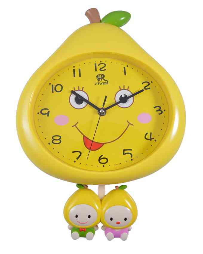 Cute Fruit Moving Eyes Wall Clock for Kids Room With Pendulum - 13x12 Inch