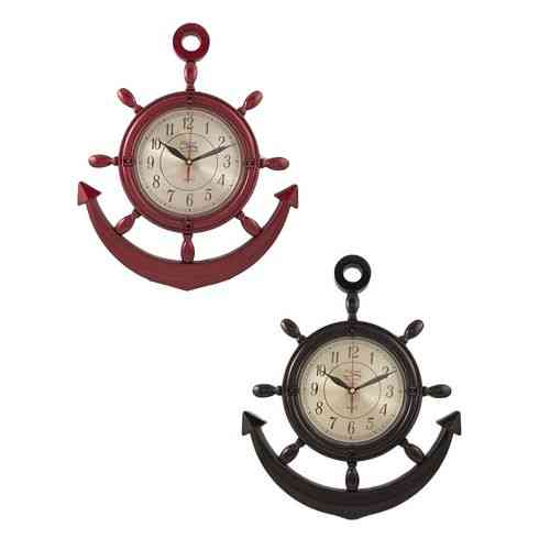 Pack of 2 - Anchor Wall Clocks - Black and Maroon - 17x15 Inch