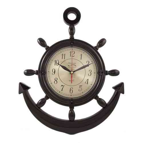 Anchor Wall Clock - Golden Dial - Black - 17x15""